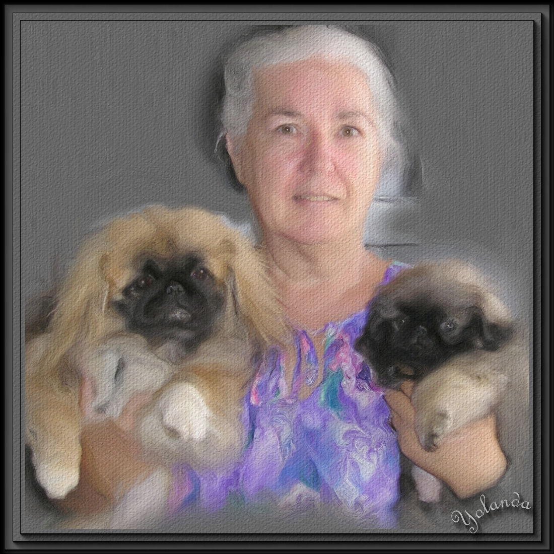 Self Portrait of Yolanda with 2 Pekingese